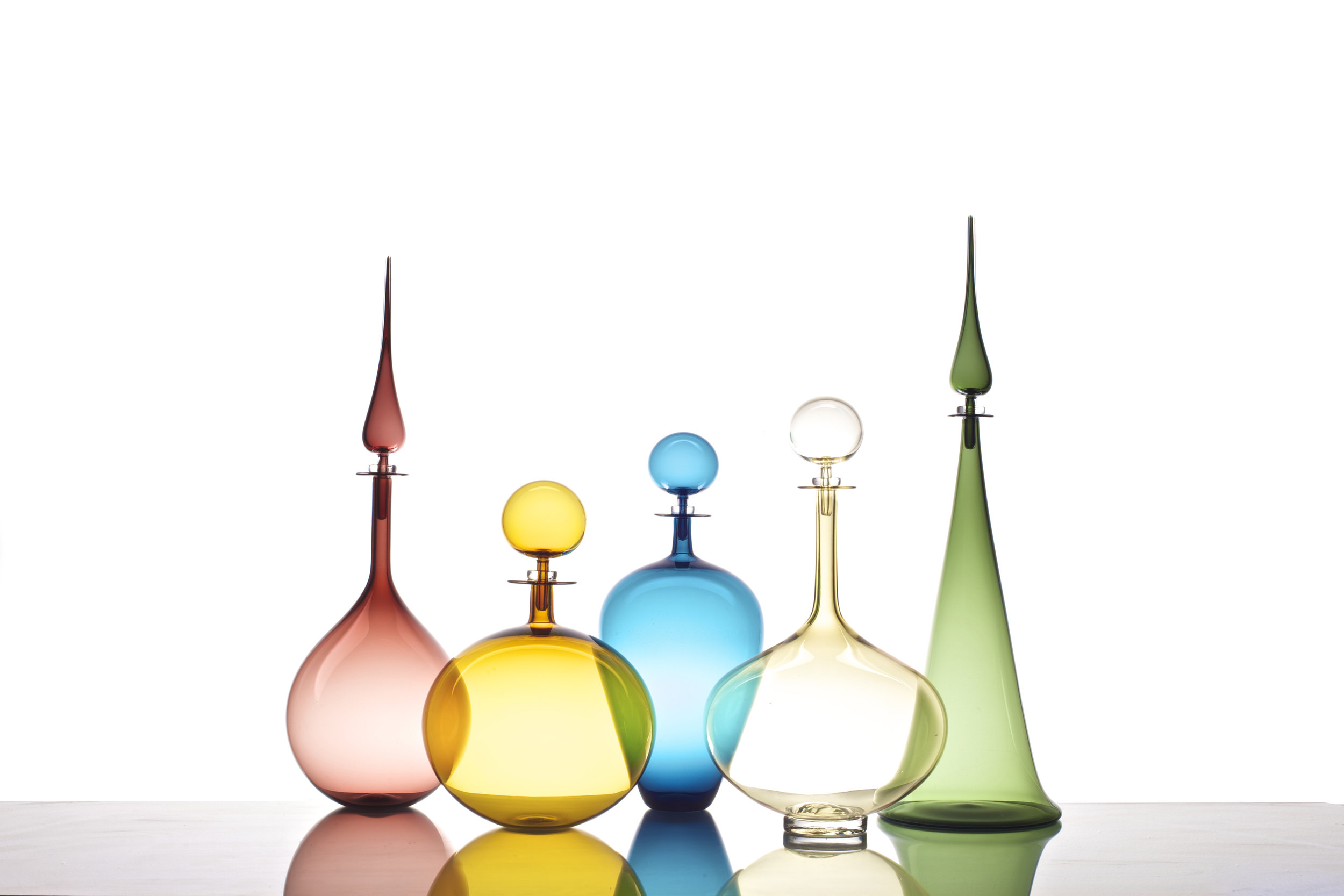 LARGE DECANTER COLLECTION: TEAR DROP PLUM, LOW ROUND AMBER, WINE JUG STEEL BLUE, GENIE BOTTLE WHISKEY, FLUTED CONE TOURMALINE