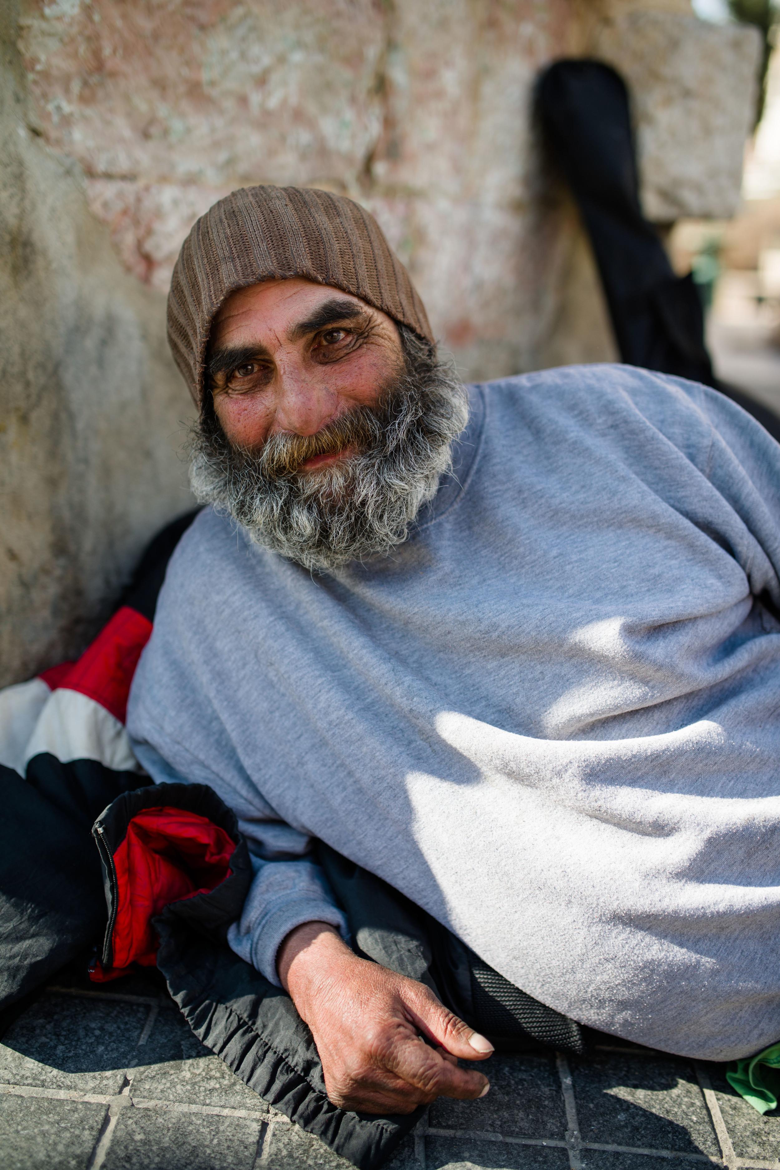 Don, a homeless man in Jerusalem, Israel.