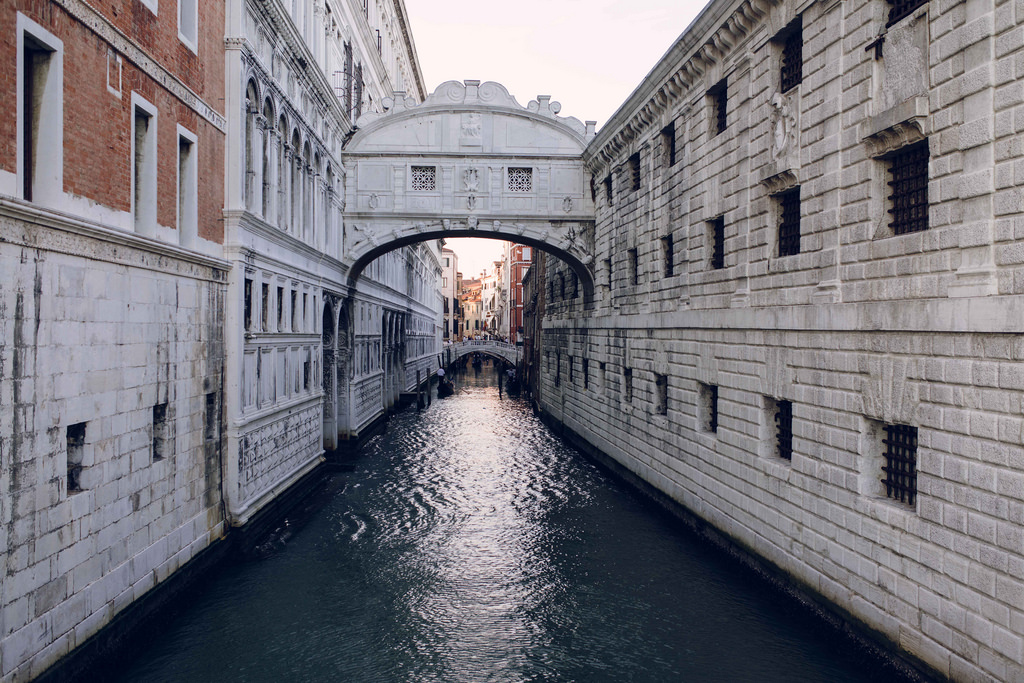The Bridge of Sighs, built in 1600, held the last view prisoners saw before being locked in cells.