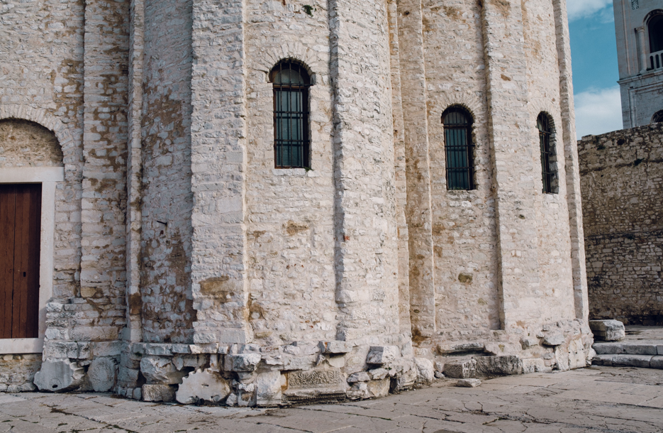When one cathedral was destroyed, a new one was literally built on top of it. In this case, old columns were used as a foundation.