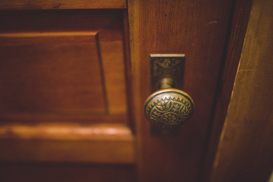 The inside door handle to the front door: a gateway to awaiting adventures.