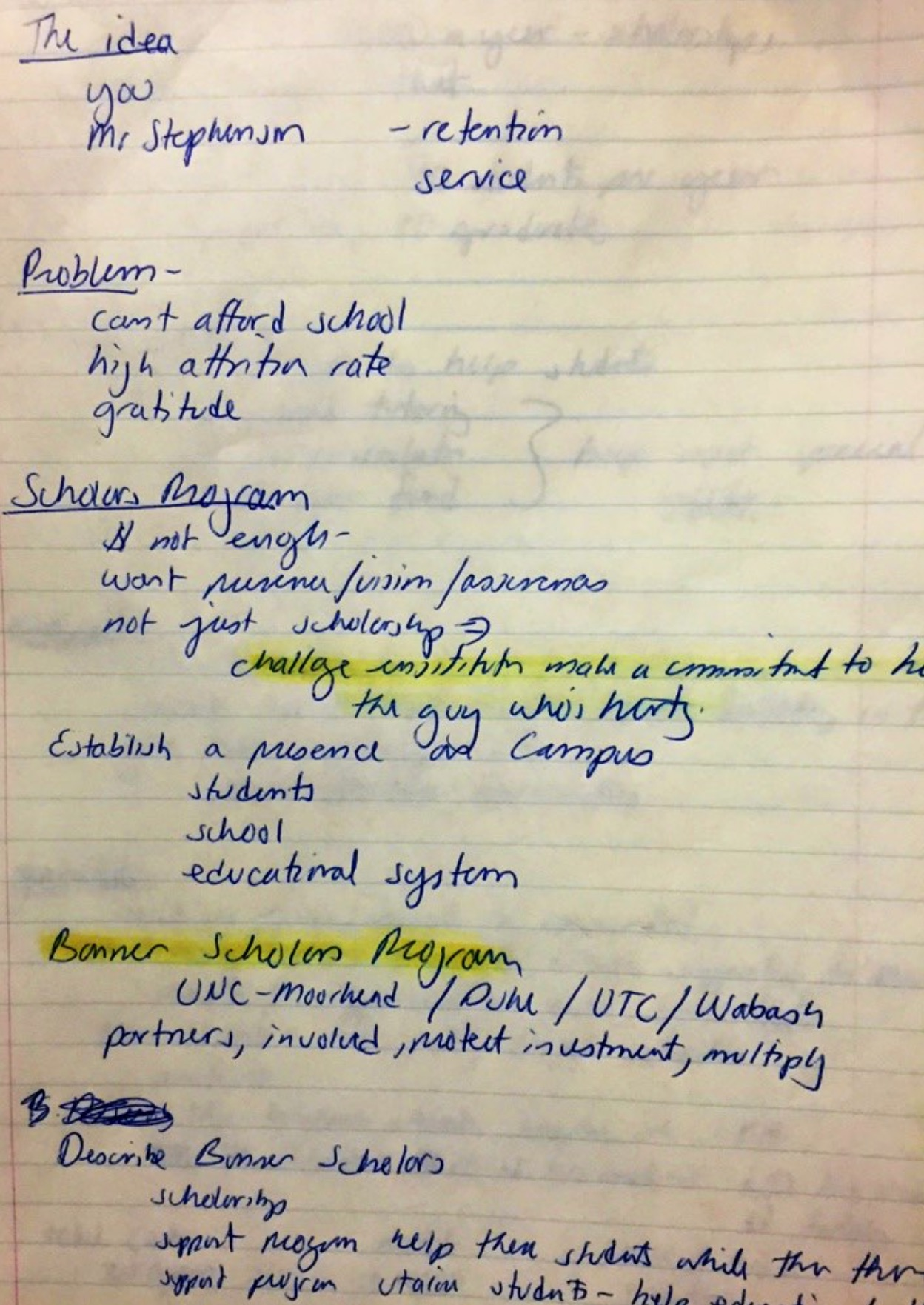 Wayne Meisel's original notes outlining idea of the Bonner Program, 1990.