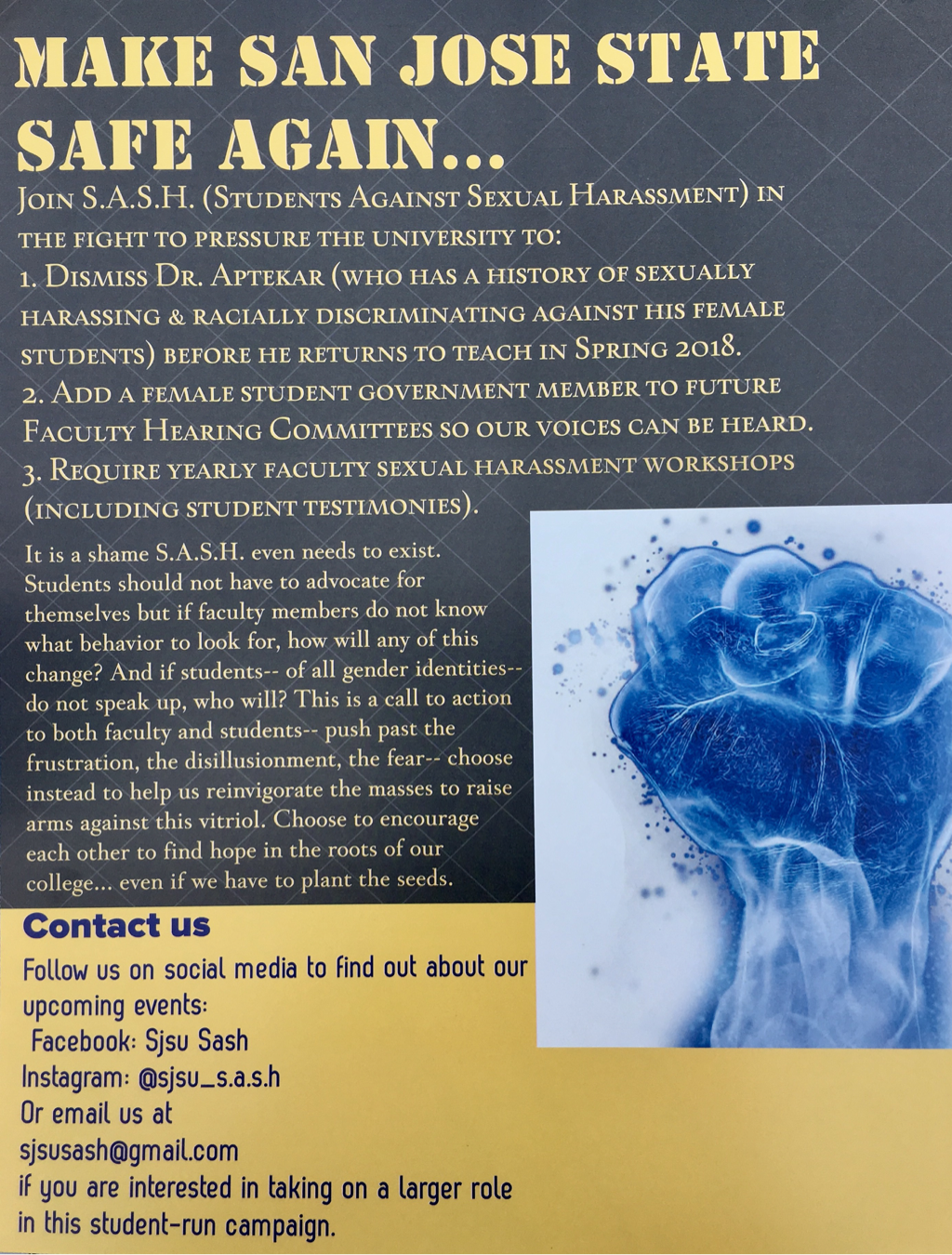 Recruitment flyer for Students Against Sexual Harassment (SASH). Click to enlarge.
