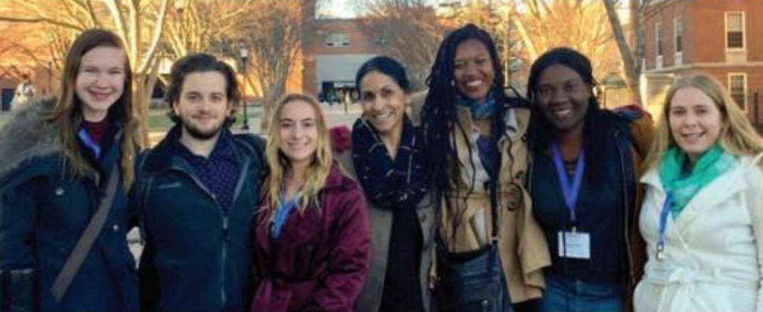 """In March, Professor Rajni Shankar-Brown, Ph.D., and undergraduates, including Bonner and Multicultural Student Council student leaders, attended the 2018 IMPACT National Conference in Dayton, Ohio. Shankar-Brown's presentation and interactive workshop, """"A Change Is Gonna Come: Promoting Equity and Advancing Social Justice Through Mindful Campus-Community Partnerships,"""" was delivered to a standing-room-only crowd of college students, educators, community organizers and professionals from across the nation. Left to right: Ashlee Renich-Malek, Adam Cooper, Ally Terry, Rajni Shankar-Brown, Veronica Faison, Vanessa Petion, Tammi Hanzalik"""