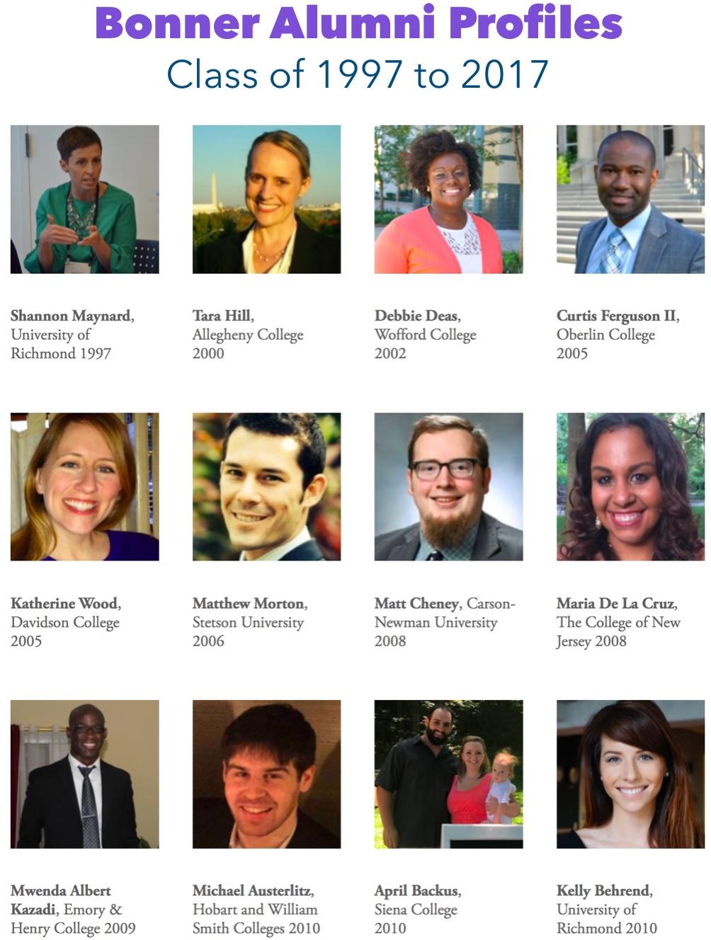 Click here    to read profiles of 30 Bonner Alumni.