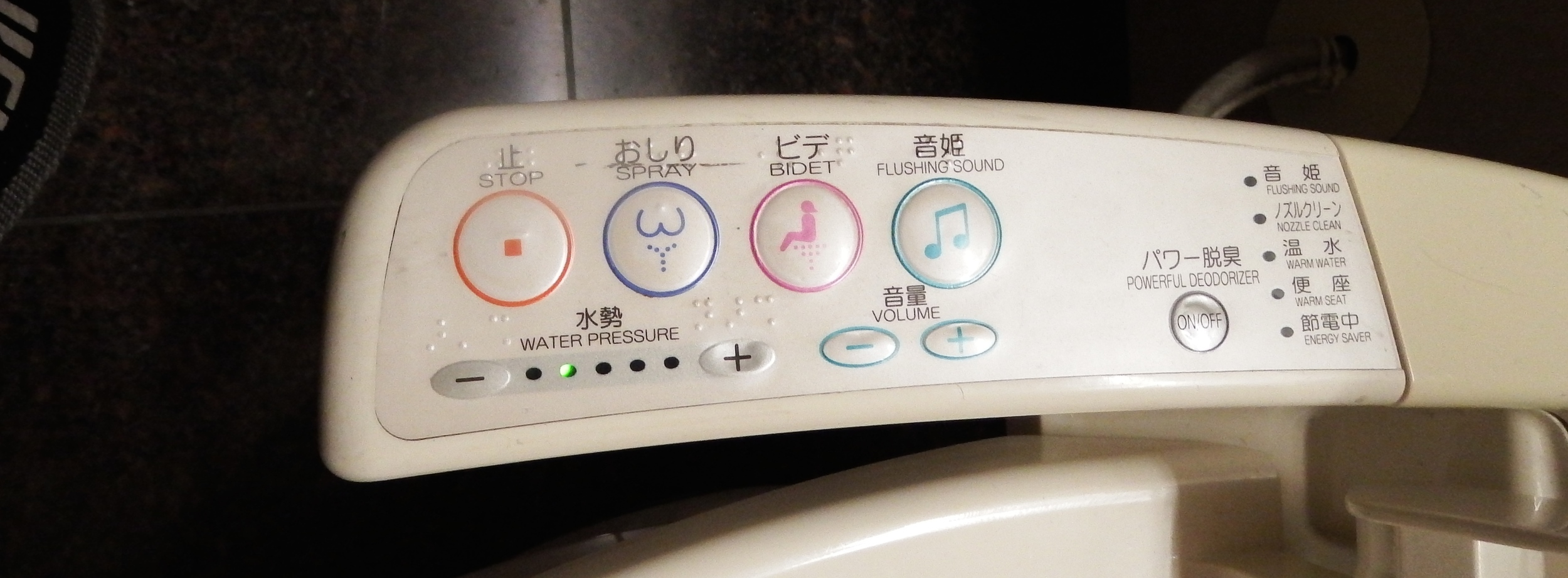 The controls on the toilet.