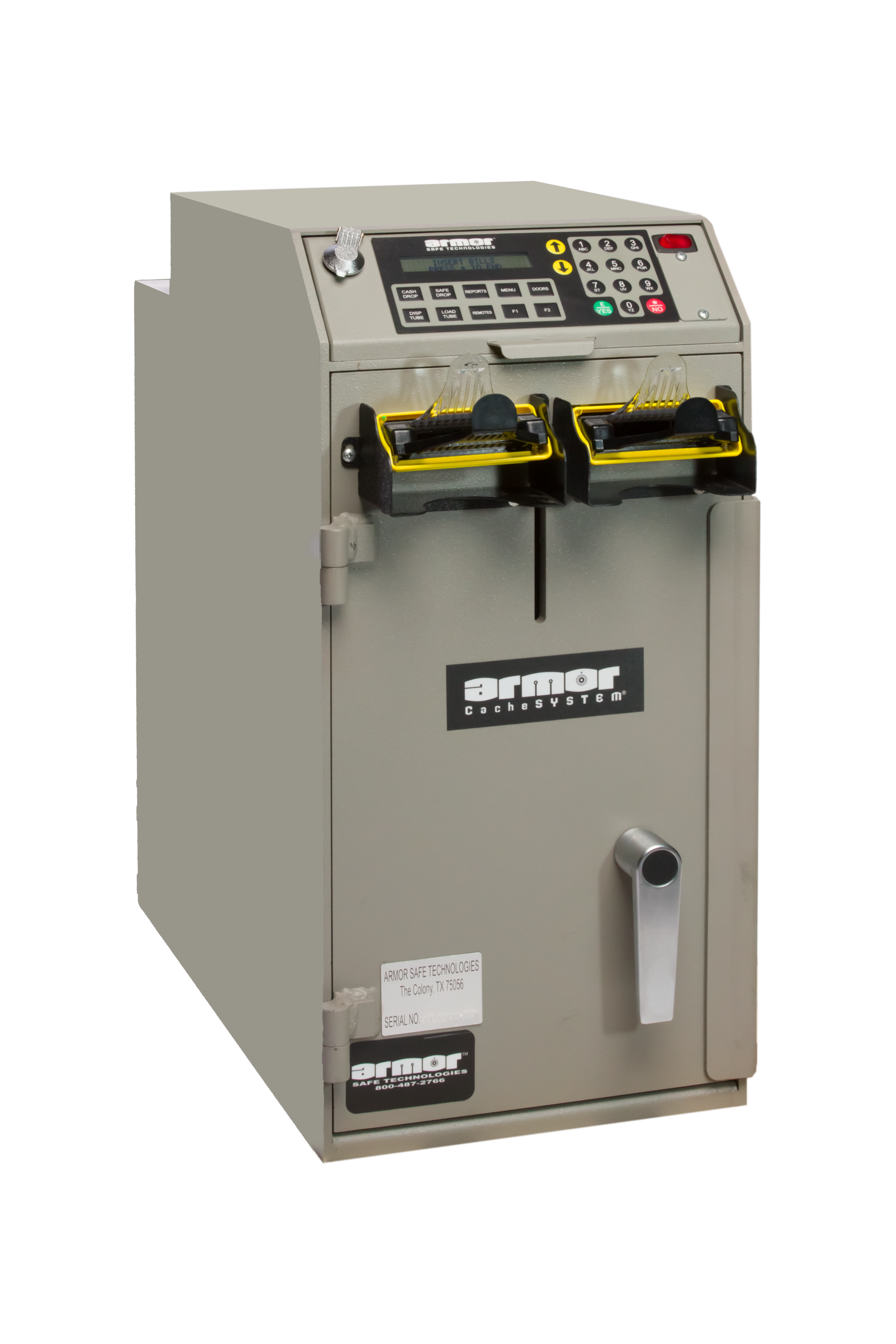 CacheSYSTEM 2400   Shown equipped with  2 bulk-note bill validators