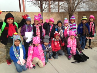 Navajo children at Baca/Dlo ay azhi Community School, New Mexico who received scarves made by the Mt. Zion United Methodist Women's group