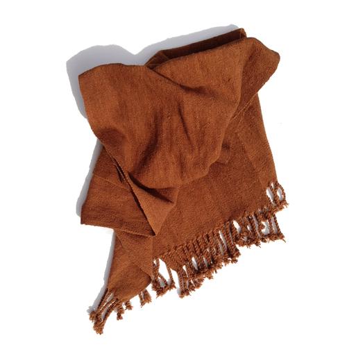 No dye cotton panel, handwoven, homespun yarns.