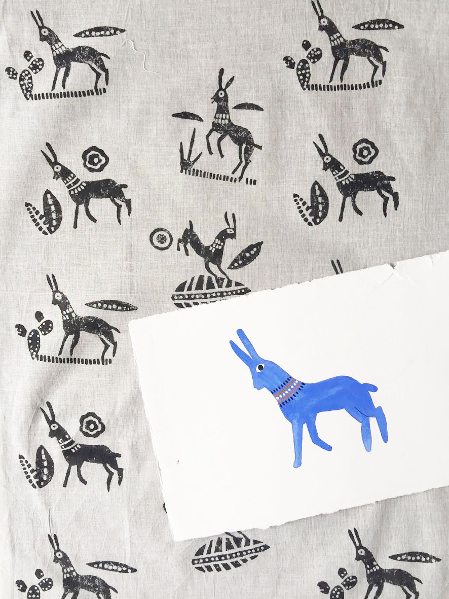 "Block printed khadi cotton paired with the original painting which inspired the design. Gouche on paper ""This Guy"" by Carla Osborn 2014."