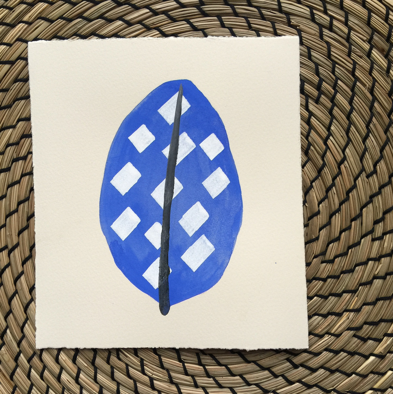 """""""Azul et Hoja"""" Gouache on paper by Carla Venticinque-Osborn."""