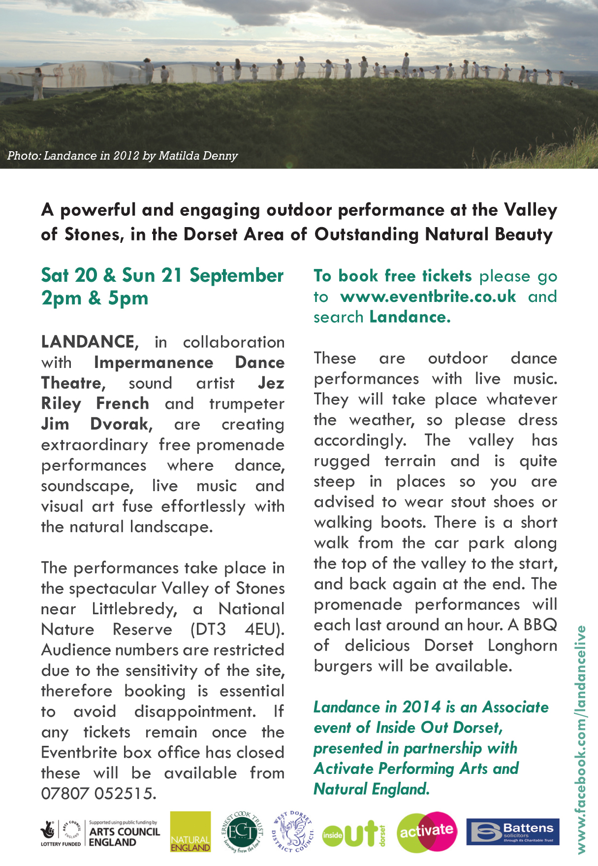 Client:  Landance   Brief: To design an A6 double sided heavyweight flyer, distributed across Dorset, promoting a contemporary dance event