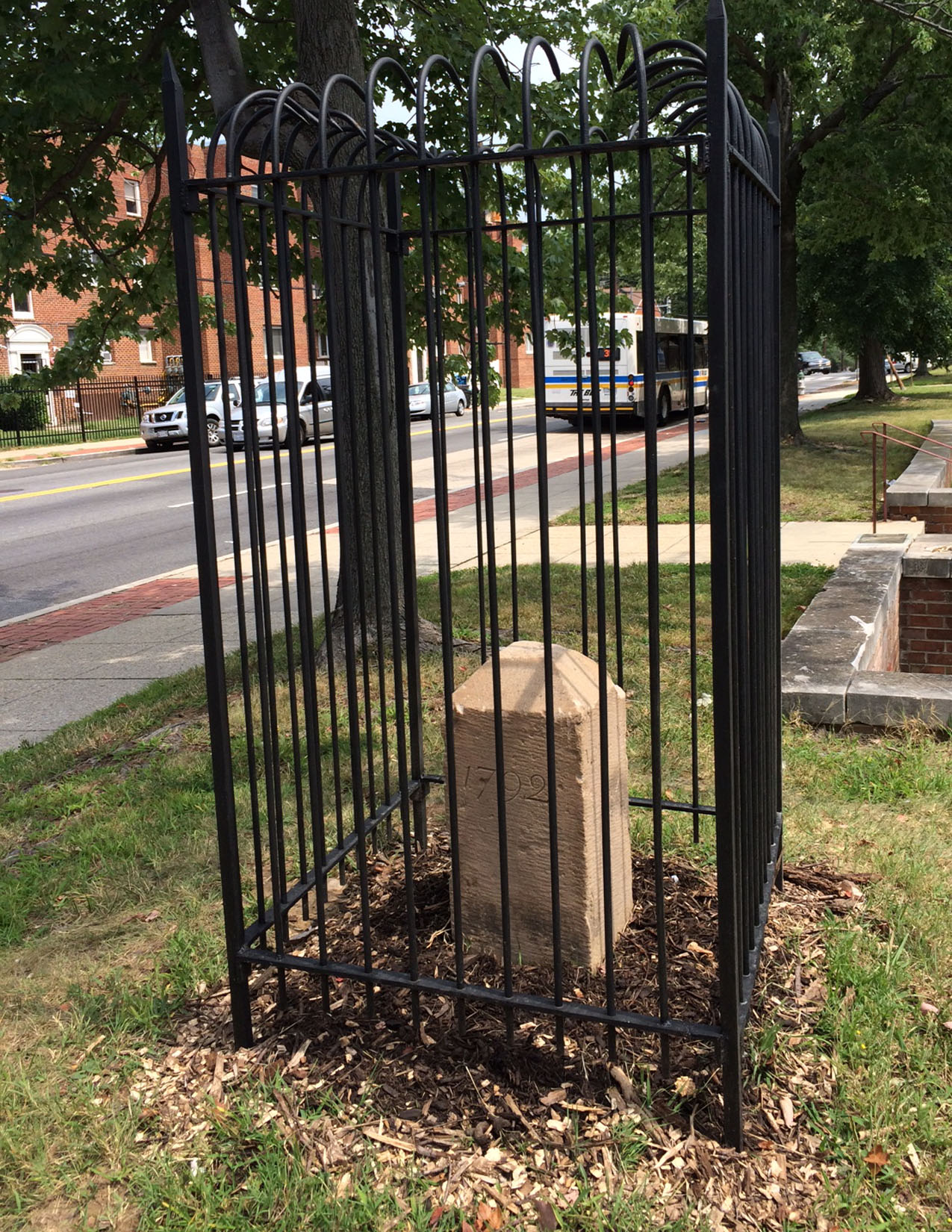 Boundary Stone SE #6 newly-restored and replaced onsite