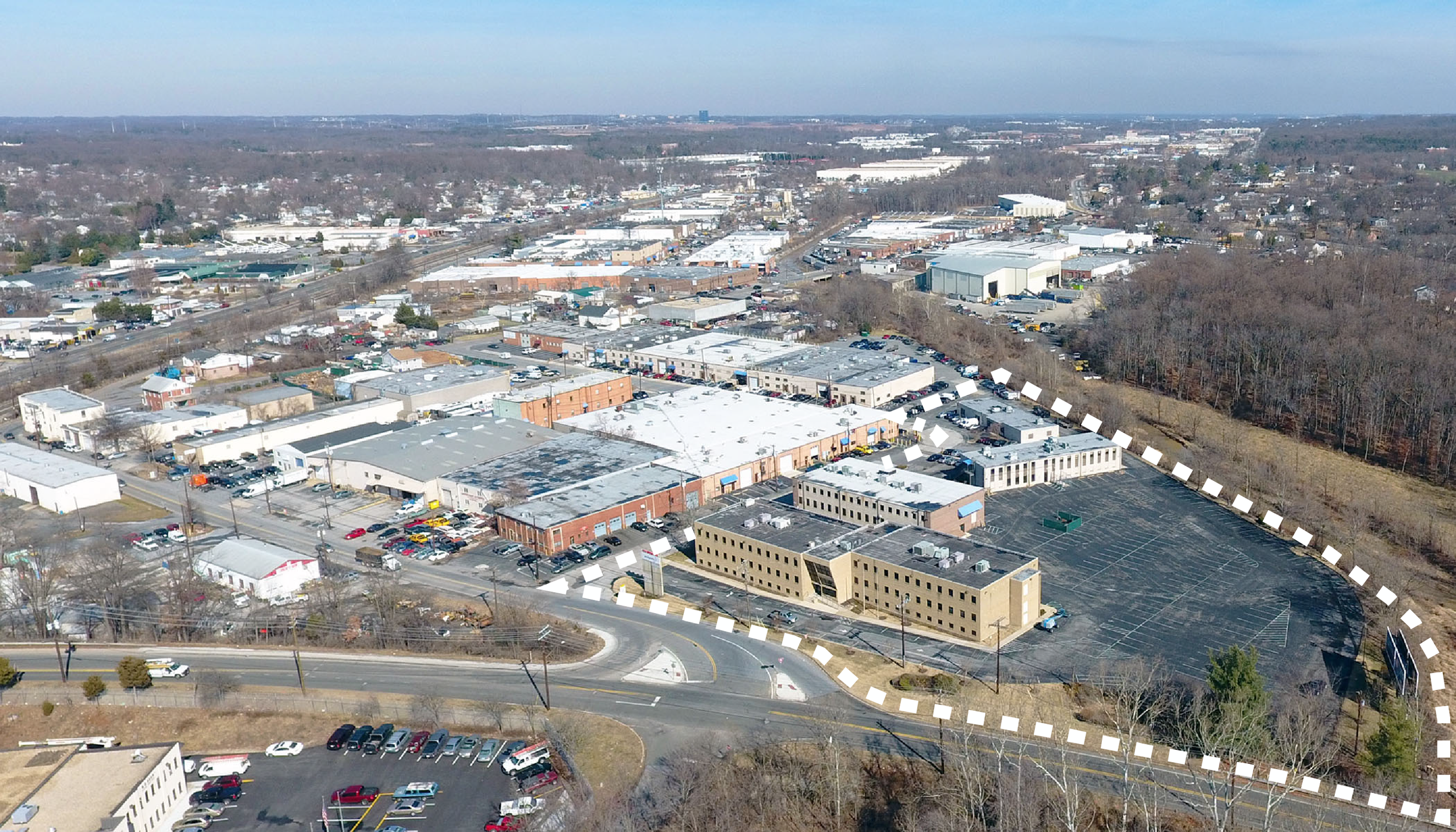February 2018 aerial view of site looking northbound with Baltimore Avenue (US Route 1) in the background