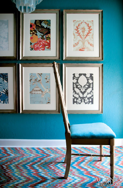 Framed wallpaper samples - Atlanta Homes and Lifestyles magazine designer Brian Patrick Flynn