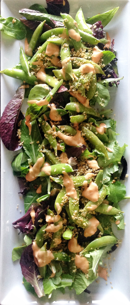 Romaine Salad with Pickled Sugar Snap Peas