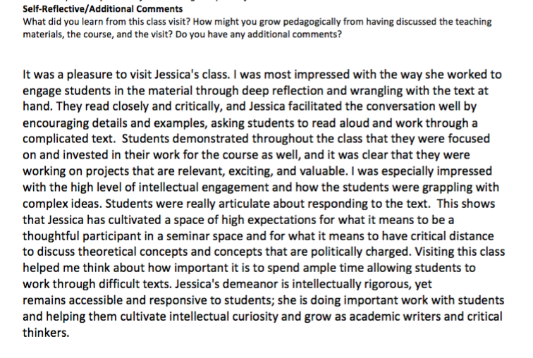 Supervisor feedback from an introduction to academic writing course.
