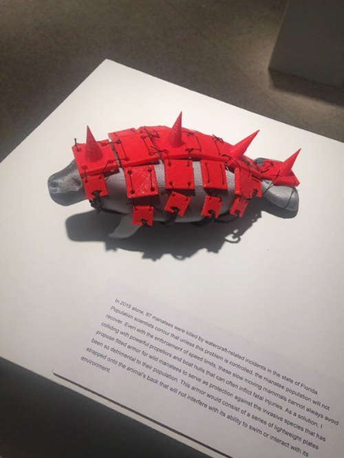 Manatee Armor  by Shea Ramsey 3D print, thread  Final Project