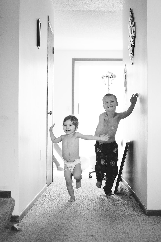 running through house