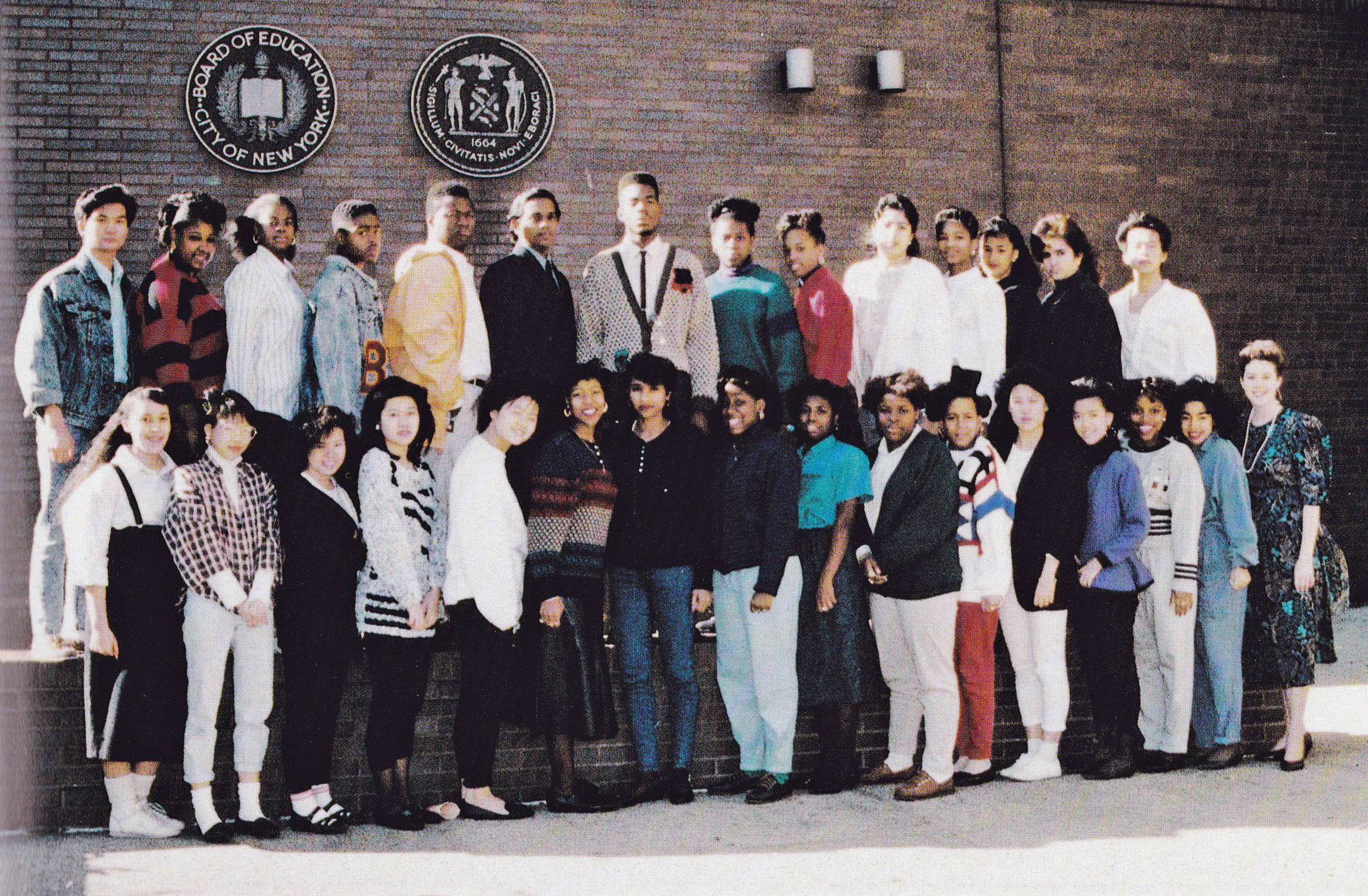 This is me with my first homeroom class. This picture was taken in September or October of 1988.