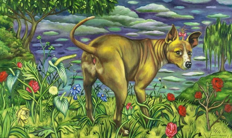 "Puppy Love II,  2001, oil on canvas, 36"" x 60"""