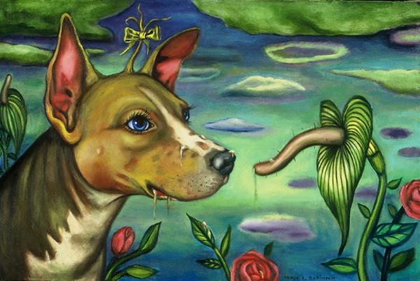 "Puppy Love , 2001, oil on canvas, 17-1/2"" x 30"""