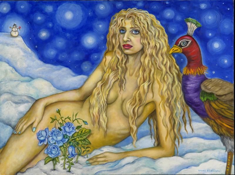 "Self-portrait as Venus, Goddess of Love,  2007, oil on canvas, 30"" x 40"""