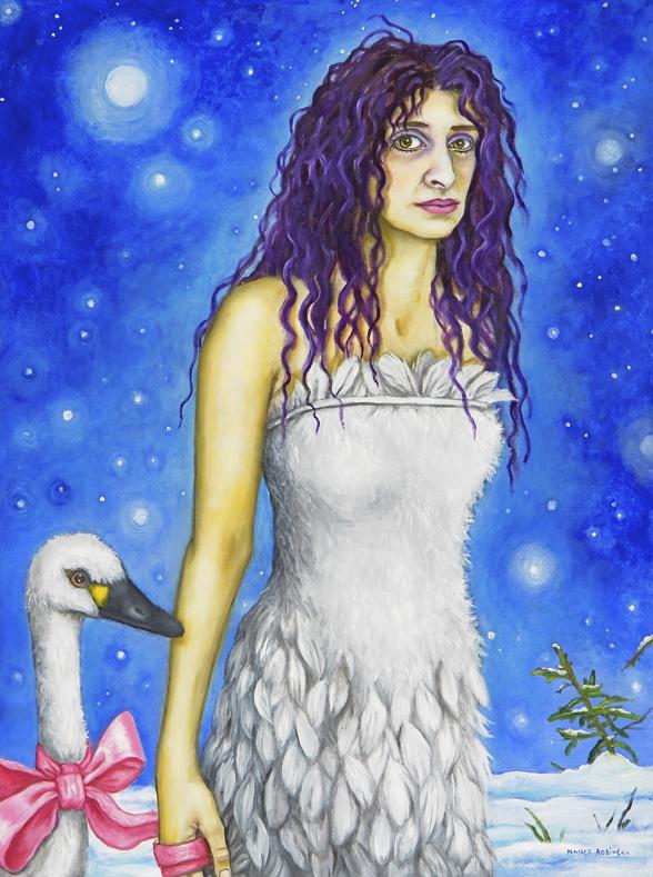 "Self-portrait as a Swan Maiden , 2007, oil on canvas, 40"" x 30"""