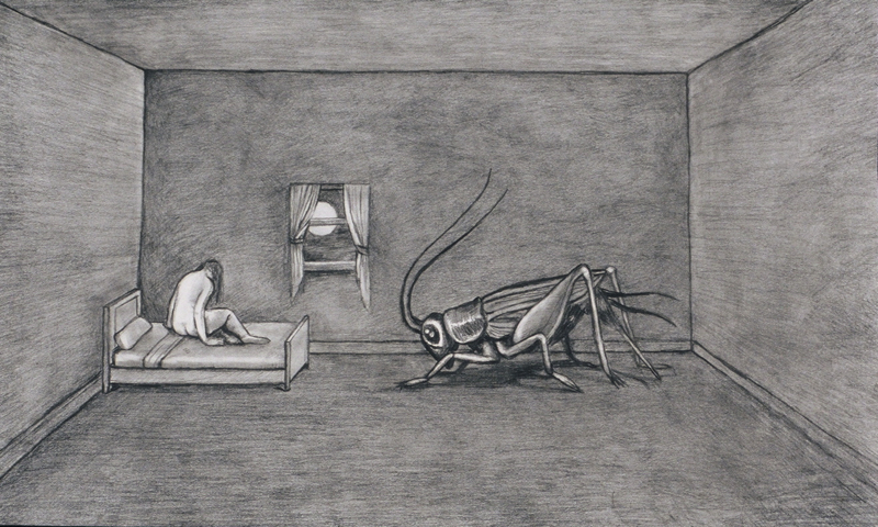 "The Insomniac , graphite on bristol paper, 15"" x 22"""