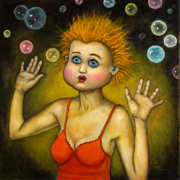 "Bubblehead  , 2016, oil on canvas, 30"" x 30"""