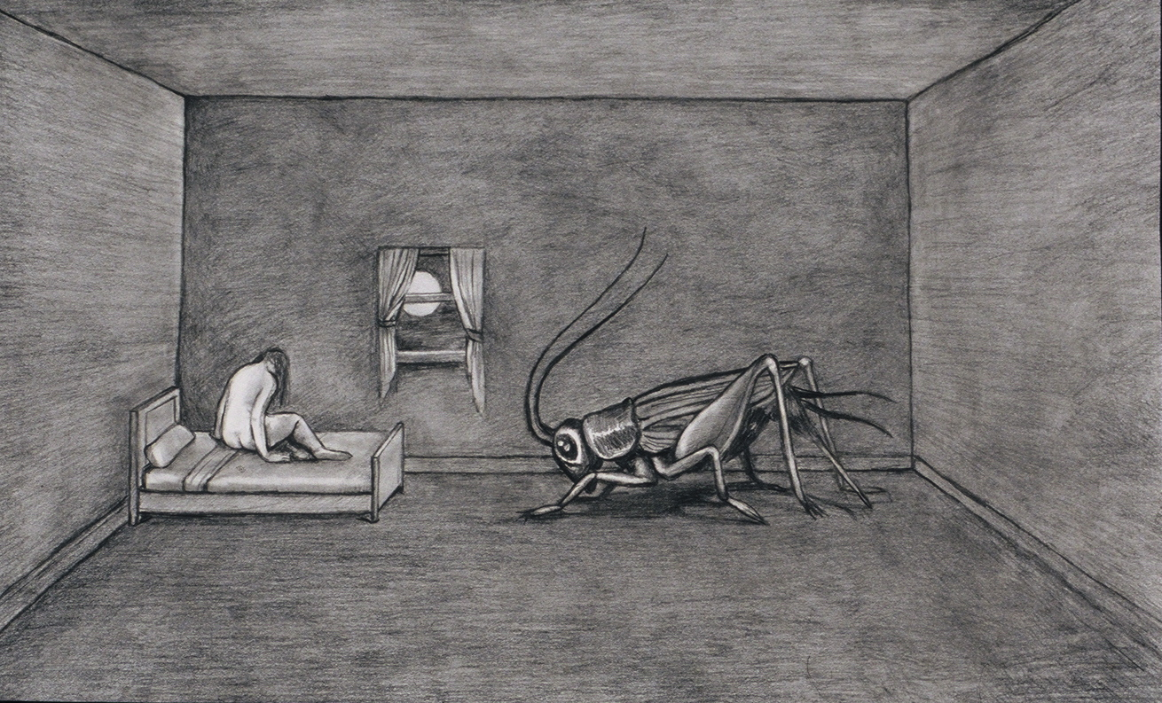 "The Insomniac , 1997, graphite on bristol paper, 15"" x 22"""