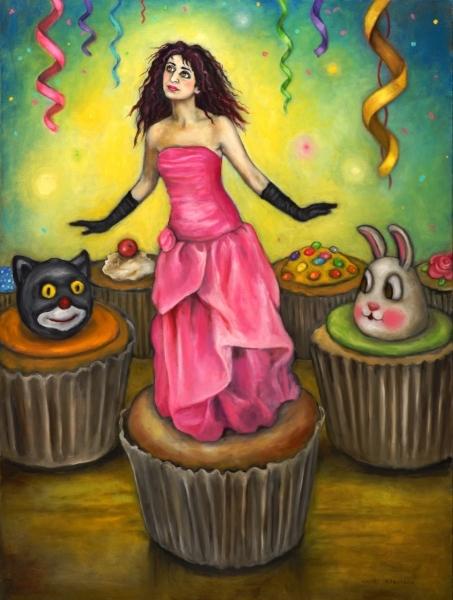 "Self-portrait as a Cupcake Decoratio  n, oil on canvas, 48"" x 36"""