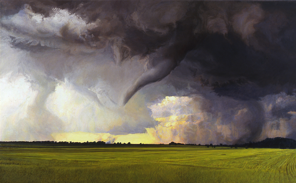 """There is Dark and There is Light, 46""""x74"""", oil on canvas, after Hollingshead"""