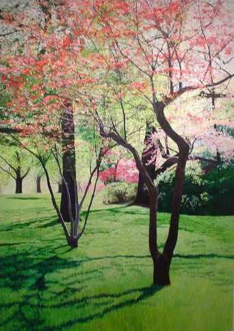 Red Dogwoods, 4'x6', oil on canvas