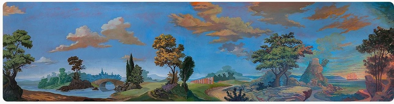 """Waynetopia"" 'sunset'wall mural designed by Wayne White"