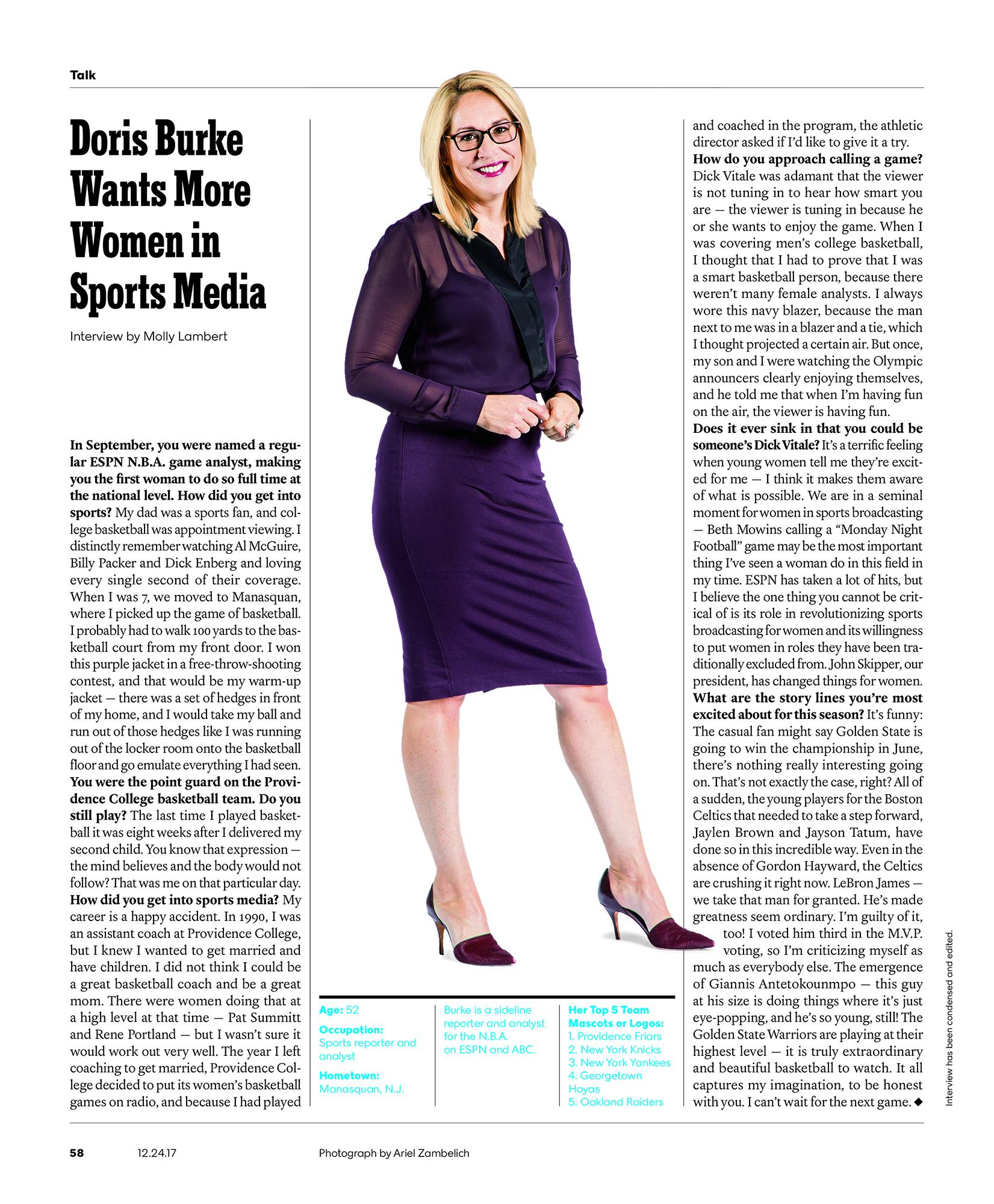 Doris Burke for the  New York Times Magazine .