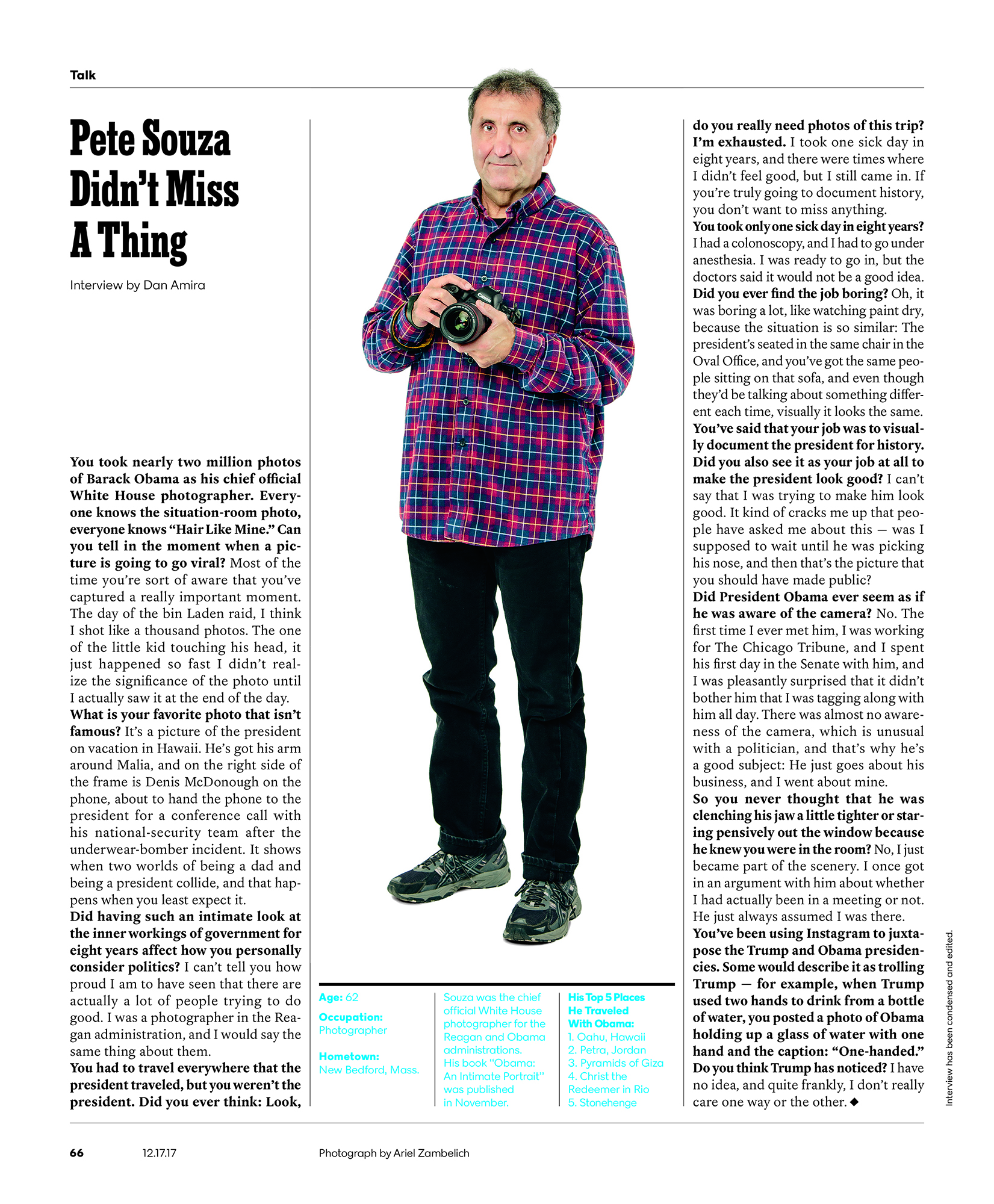 Pete Souza for the  New York Times Magazine .