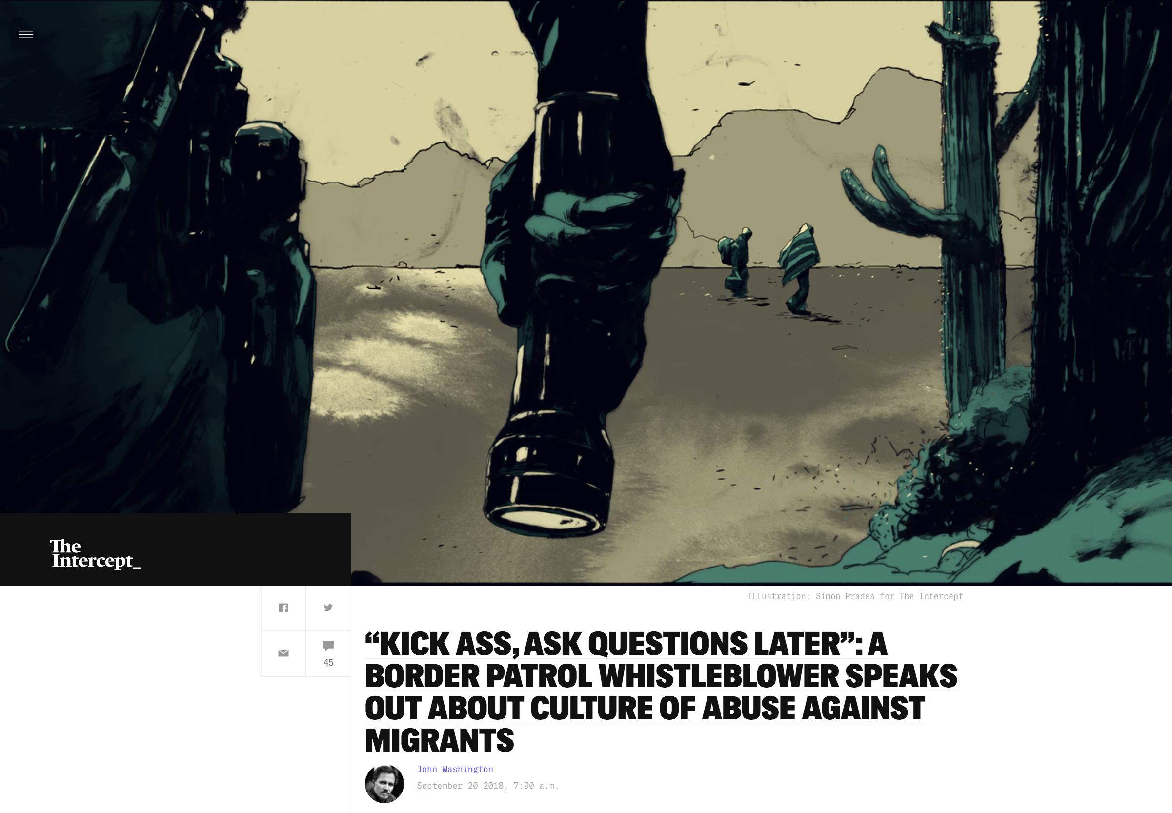 """Illustration:  Simón Prades   Art Direction: Ariel Zambelich  Story:   """"Kick Ass, Ask Questions Later"""": A Border Patrol Whistleblower Speaks Out About Culture Of Abuse Against Migrants"""