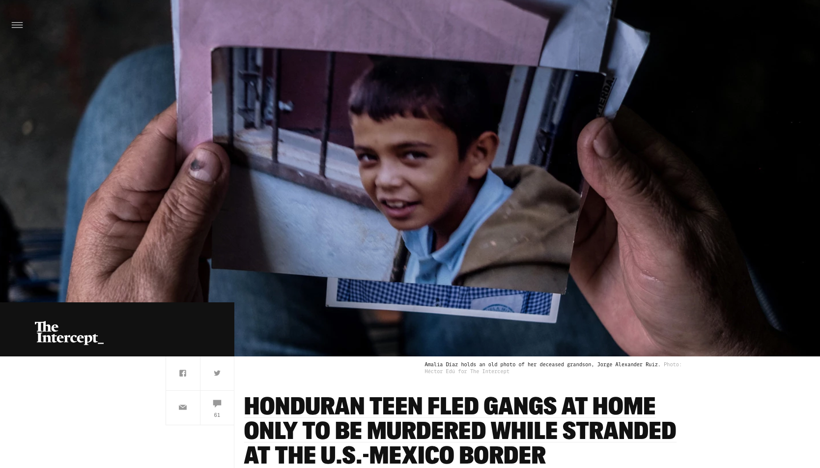 Photography: Héctor Edú  Photo Editing: Ariel Zambelich  Story:  Honduran Teen Fled Gangs At Home Only To Be Murdered While Stranded At The U.S.-Mexico Border