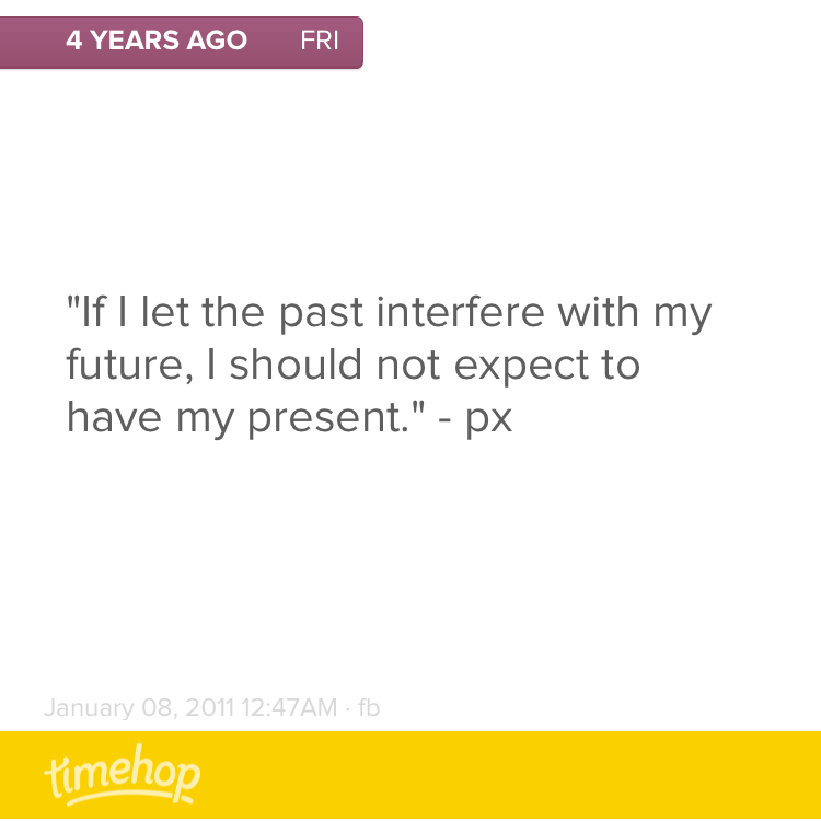 Four years ago, I wrote this. Time to take my own advice.