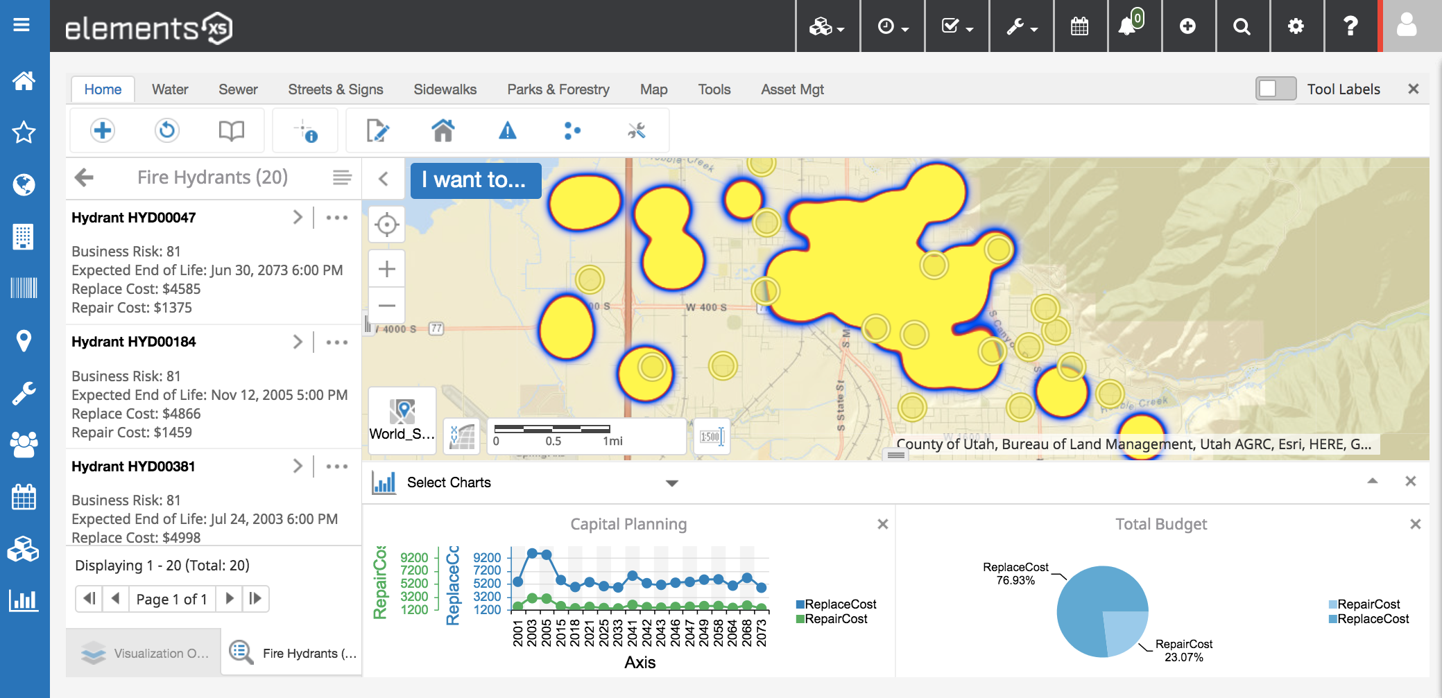 View work history locations, manage business risk, and track critical assets using your ArcGIS platform as the asset repository.