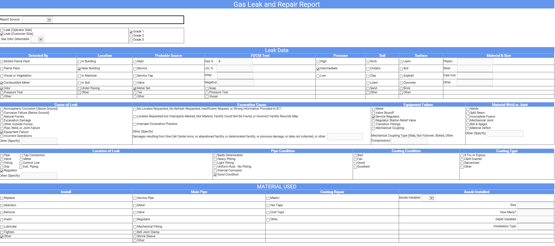 Elements XS  Dynamic Document Form used on a Gas Leak and Repair service order