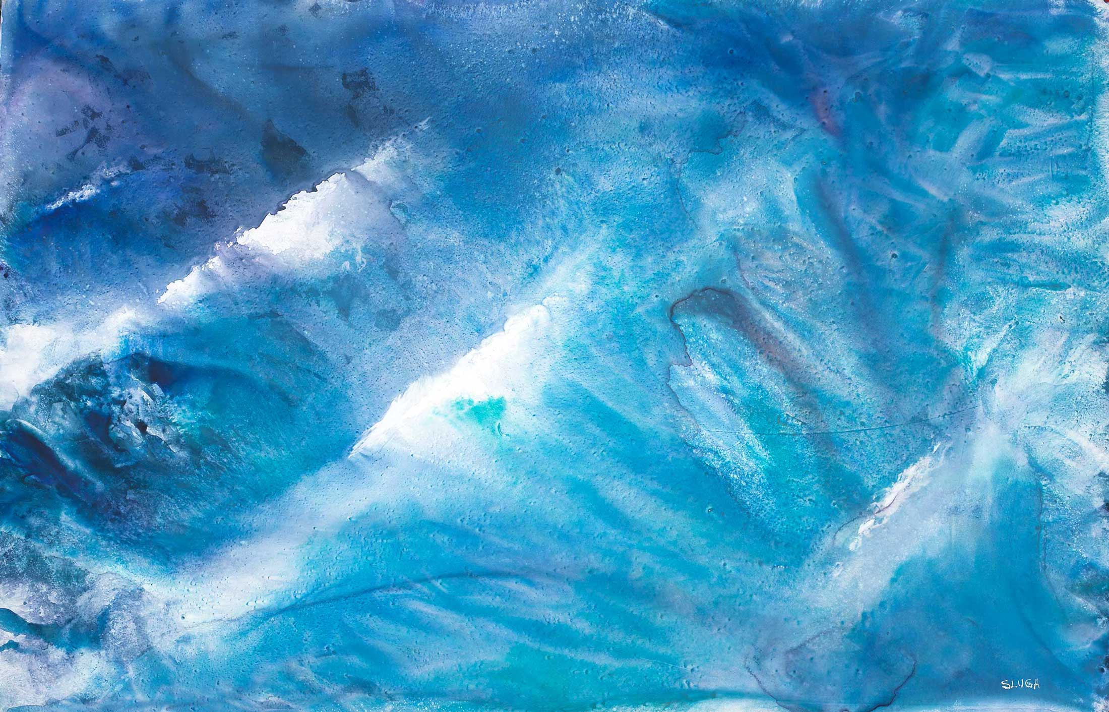 The Awesome Wave 101 x 65 cm (This painting is framed)