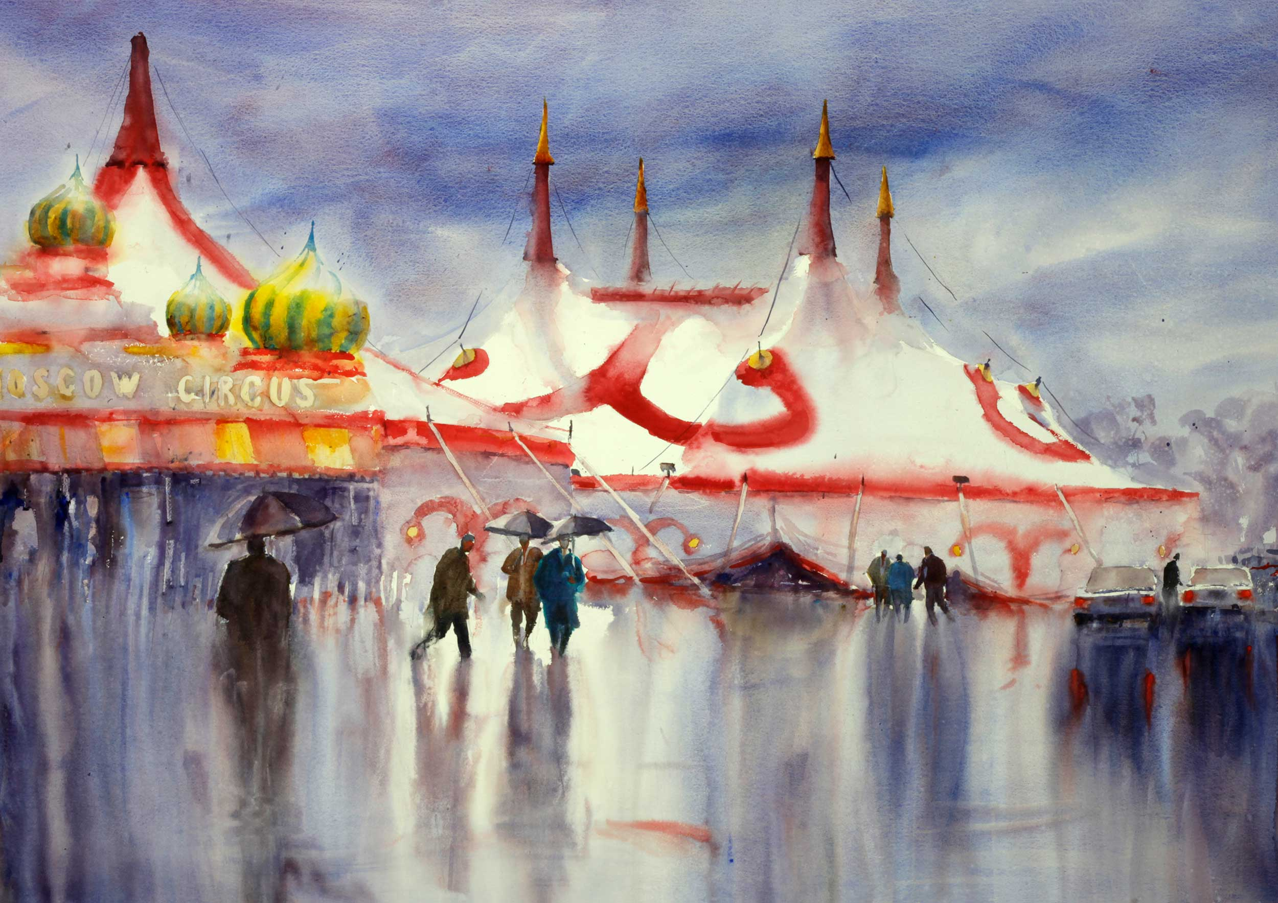 Rainy Day, Moscow Circus 150 x 107 cm (This painting is framed)