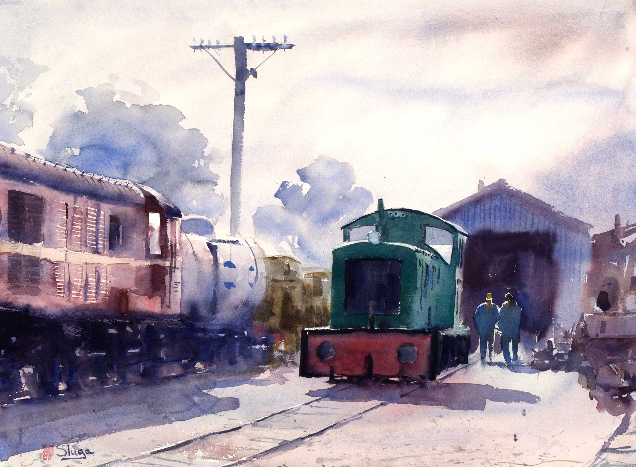 Morning Train, Queenscliff 75 x 55 cm
