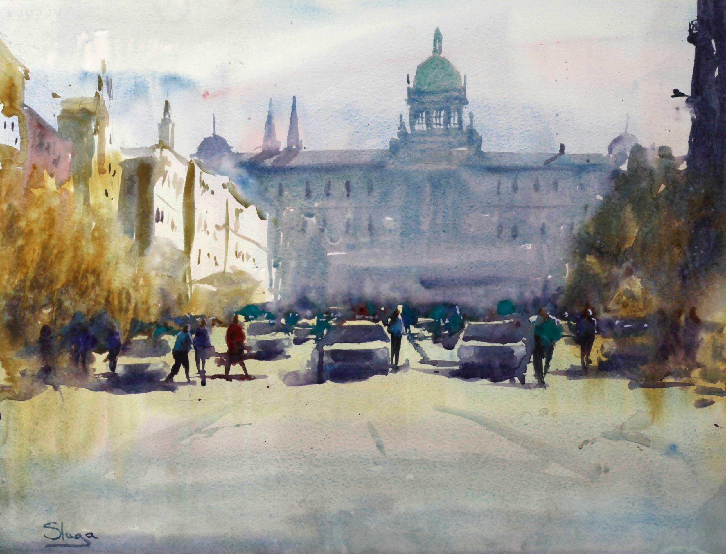 Wencislas Square, Prague 69 x 53 cm