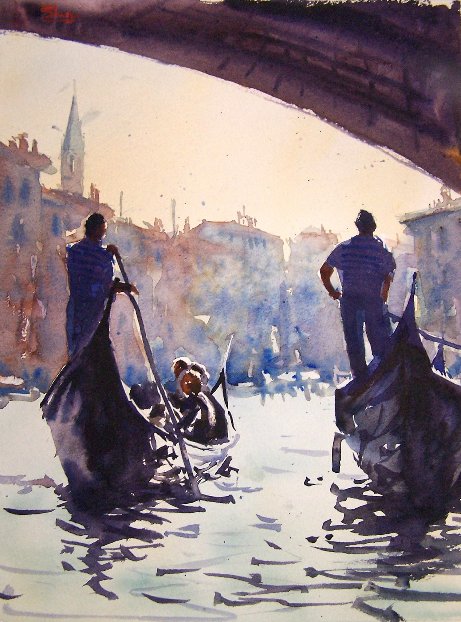 Under the Bridge  The reflections in this painting were painted over the dry under wash of the water. I made sure that the reflection was painted at the same time as the gondola to connect the two. It is only the reflection and a few extra brush strokes that give the water movement. Take these away and all is left is virtually a wash of colour to represent the water.