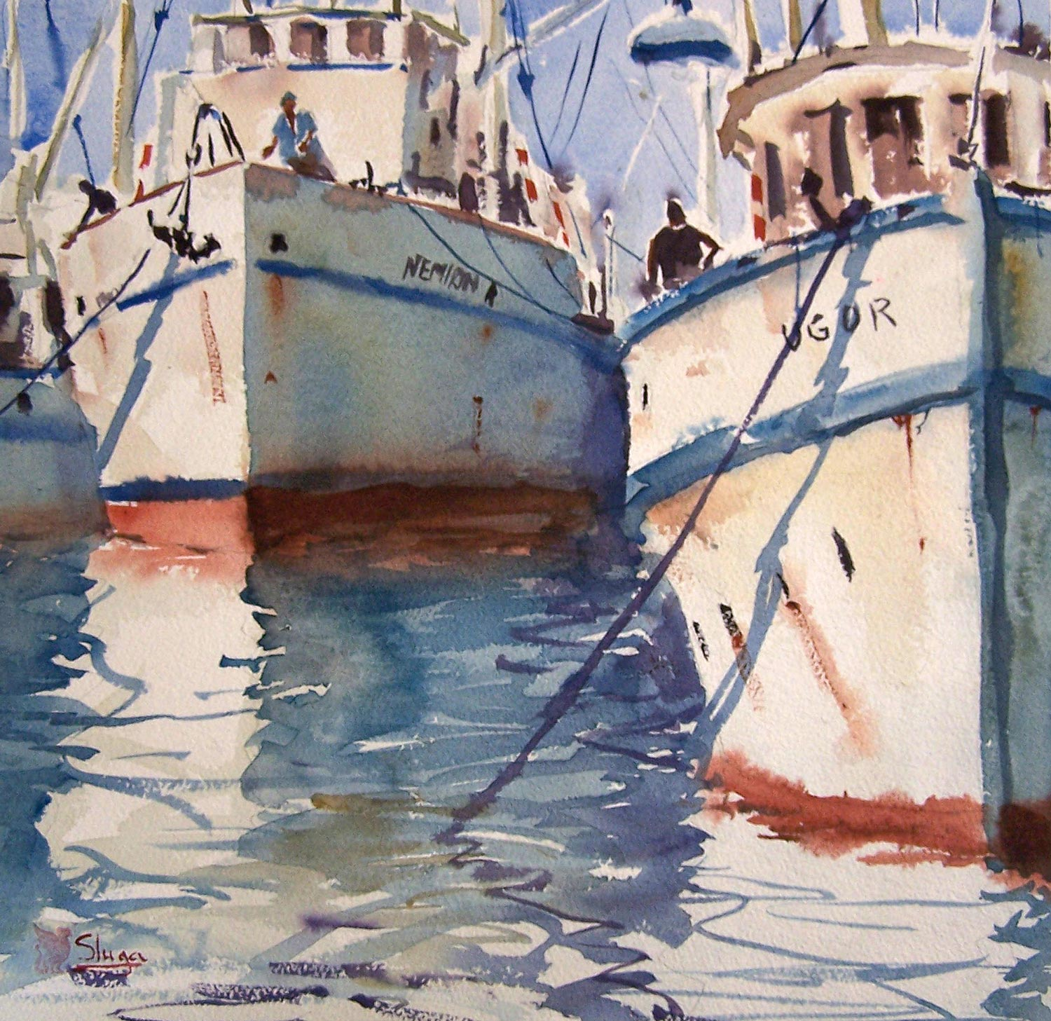 Trawlers  The water in this painting is quite busy with ripples and broken reflections. You can see on close inspection that it was painted in sections allowing a little bleeding of colour. The brush was allowed to dance across the page in a side to side motion to create the movement, but I made sure that I didn't lose those all important white areas.
