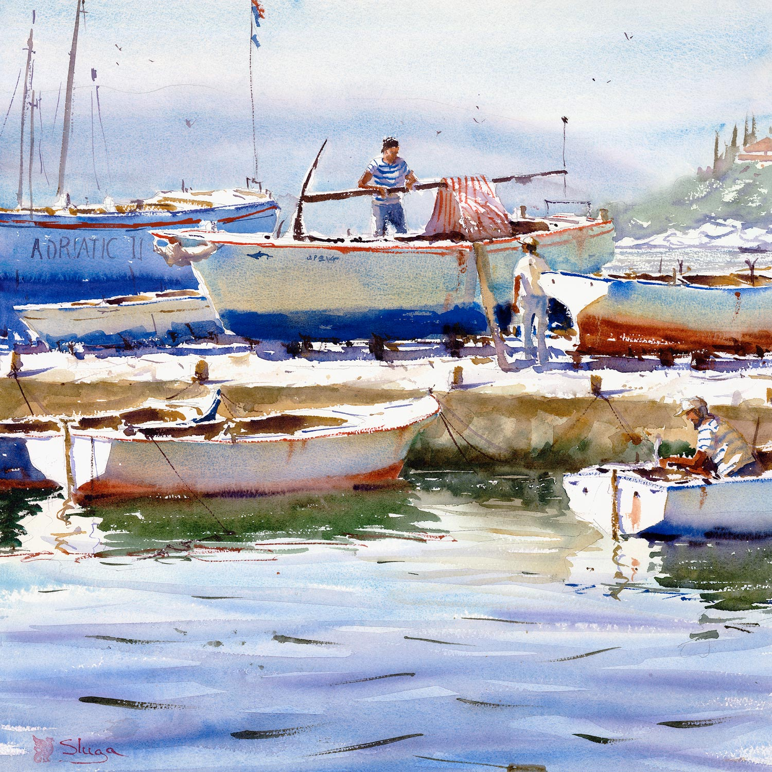 Sunday Afternoon, Dalmatia  The water in this painting has a lovely velvety feel about it. An initial wash was put down using Cerulean Blue and changing it to Cobalt Blue as I came forward (or to the bottom of the page). While this was still wet, I added some violet ripples with thicker paint. I made sure this was thick enough to bleed just a little and produce soft edges. Too thin and it would have disappeared altogether. After this was dry, I glazed randomly and gently over the foreground with a watery wash of Violet, just to give it a little more depth. Finally, I added those dark strokes just to give it a little more punch. Take note of the tones of the reflections of the boats in this painting.