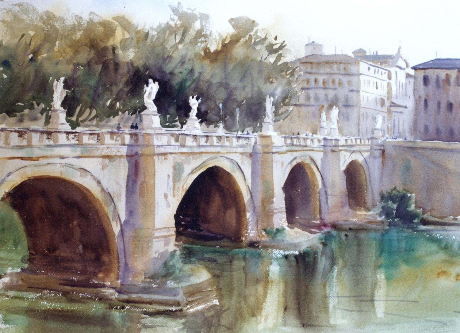 Ponte Sant'Angelo  The water in the Tiber River was quite low and in this painting the water was painted wet into wet using primarily downward strokes to indicate reflections. The reflections are blurred and there are just a few horizontal strokes to indicate the surface of the water. The three major vertical light areas were wiped out with a tissue while the initial wash was still wet.